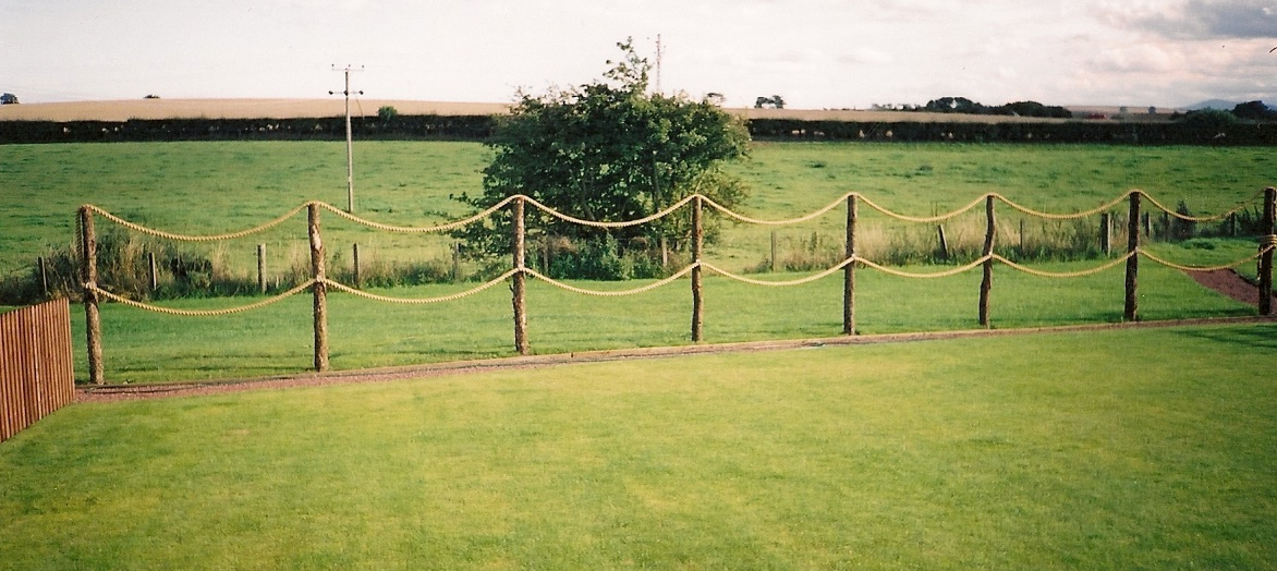 Post And Pole Fencing : Rope fence on rustic poles w campbell son